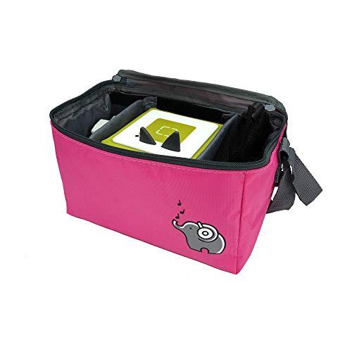 Musikbox-Tasche (flamingopink) für Hörwürfel (z.B. Toniebox und Tigerbox) oder CDs| 3 verstellbare Innenfächer | Mit Netzbeutel für Zubehör (z.B. Kopfhörer oder bis zu 10 Toniefiguren)