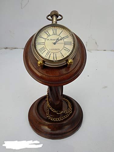 Relógio de mesa Marine Pocket Cum com suporte de madeira Sheesham...