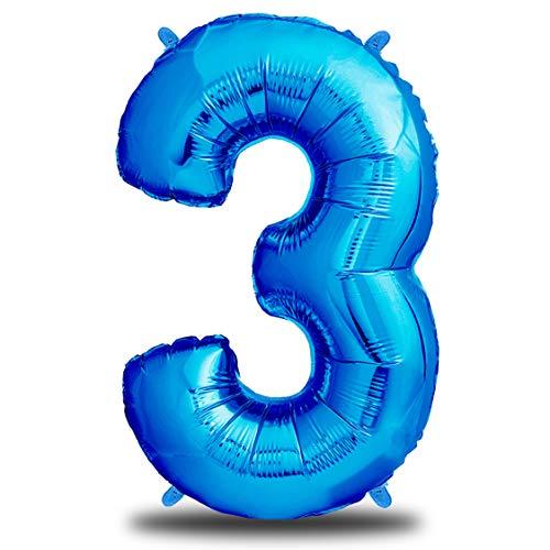 envami Globos de Cumpleãnos 3 Azul I 101 CM Globo 3 Años I Globo Numero 3 I Decoracion 3 Cumpleaños Niños I Globos Numeros Gigantes para Fiestas I Vuelan con Helio
