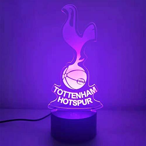 Tottenham Team 7 Couleurs, Lampe Illusion 3D / Veilleuse LED, Lampe de table Illusion Optique Veilleuse Smart Home Night Light, Jouets pour enfants