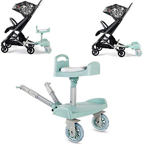 LNLN Buggy Board met stoel, kinderwagen accessoires, stoel kan worden verplaatst en gemonteerd, Scooter met standaard plaat, ideaal voor gezinnen met twee kinderen, 2-7 jaar oud kind