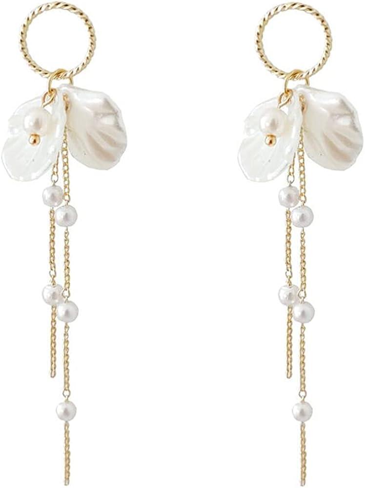 DIYANMMY Elegant Temperament Bowknot Shell Pearl Tassel Dangle Drop Earrings for Women Girls Sparkly Personalized Bohemian Hypoallergenic Jewelry