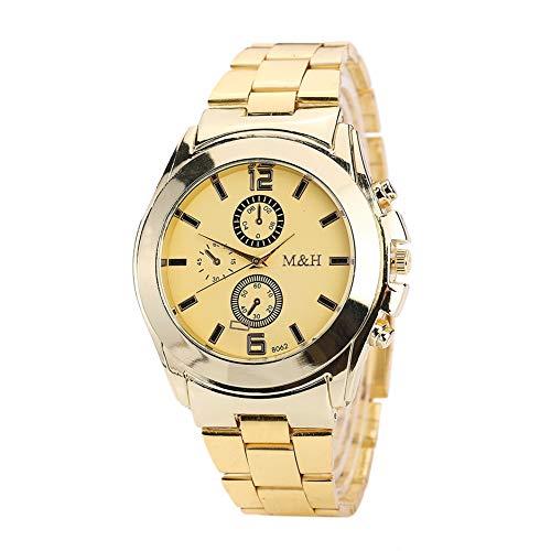 GJHBFUK Reloj Negocio Correa De Aleación Casual Cuarzo Reloj Analógico Reloj De Pulsera para Hombres (dial De Oro Dorado)
