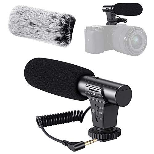 Camera Microphone, Video Microphone Works for Canon Nikon Sony Panasonic Fuji Camera,DSLR Interview Shotgun Mic with Windscreen 3.5mm Jack