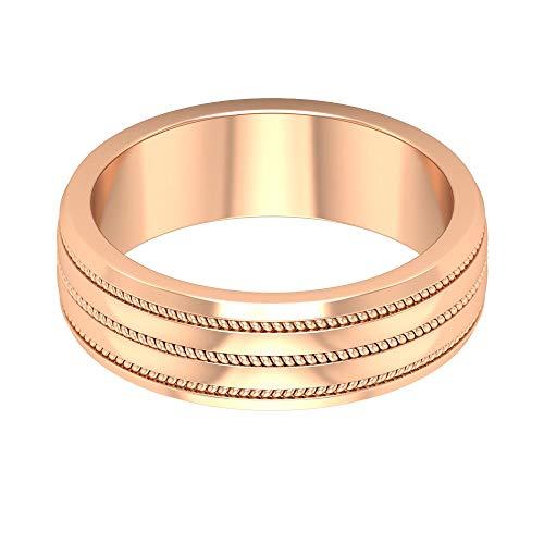 Anillo de boda ancho, anillo de aniversario antiguo, anillo de compromiso para hombre, anillo milgrain de novio, anillo unisex, anillo de pareja a juego, oro de 10 quilates