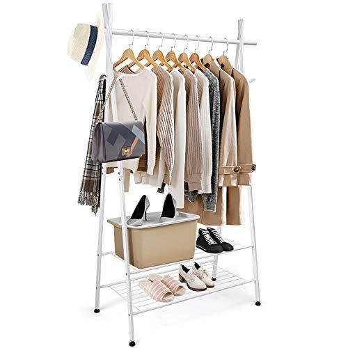 amzdeal Kleiderstange Kleiderständer Garderobenständer aus Metall 106 x 45 x 162cm, mit 2 Ablagen und 4 Haken für Kleidung, Schuhe, Taschen, Tragfähigkeit 125 kg, Passend für Schlafzimmer, Flur
