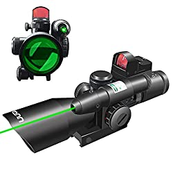 UUQ 2.5-10x40 Clarity+ Combo Rifle Scope Dual Illuminated Mil-dot W/Green Laser and Mini Reflex 3 MOA Red Dot Sight