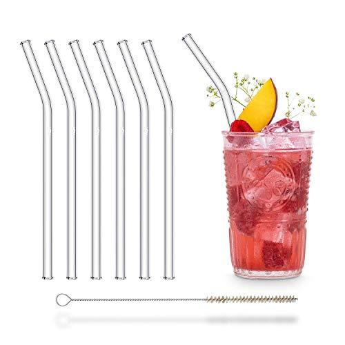 HALM Glas Strohhalme Wiederverwendbar Trinkhalm - 6 Stück gebogen 20 cm + plastikfreie Reinigungsbürste - Spülmaschinenfest - Nachhaltig - Glastrinkhalme Glasstrohalme