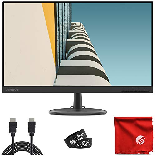 Lenovo Idea Cycle 2 D24-20 24-Inch WLED 1080p FHD FreeSync Slim Monitor (66AEKCC1US) Antiglare 4ms 75Hz 1920x1080 Bundle with 2X Cable Ties and Microfiber Cloth