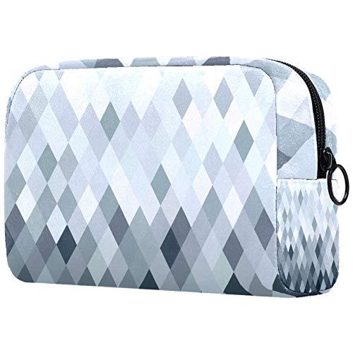 Cosmetic Bag Womens Waterproof Makeup Bag for Travel to Carry Cosmetics Change Keys etc Fancy Silver Metallic Rhombus