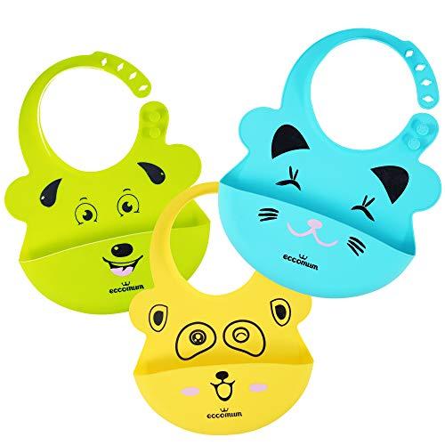 Baberos Impermeables Bebé Eccomum 3 Pack Súper Suave Baberos Silicona Bebé, Sin BPA, Resistente, Anti-asfixia, Cómodos, Flexible, Evitan Las Manchas, Fáciles de Lavar, Para Bebé Niño o Niña.