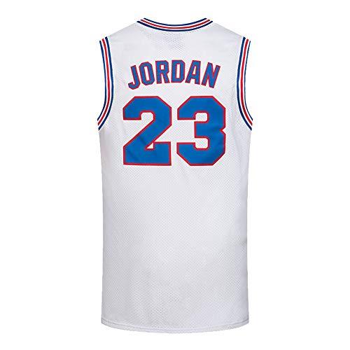 Jersey de Baloncesto de Jordan, Película de Mermelada de Espacio # 23 Camisetas de Baloncesto Blanco, Retro Transpirable Swingman Jersey Fans Deportes sin Mangas CAM Jordan-L