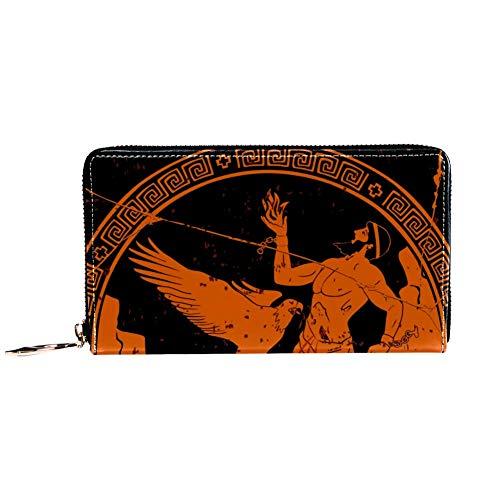TIZORAX Ancient Greek Man mit Adler PU Leder Lange Geldbörse Reißverschluss Clutch Damen Geldbörse Portemonnaie für Frauen Mädchen