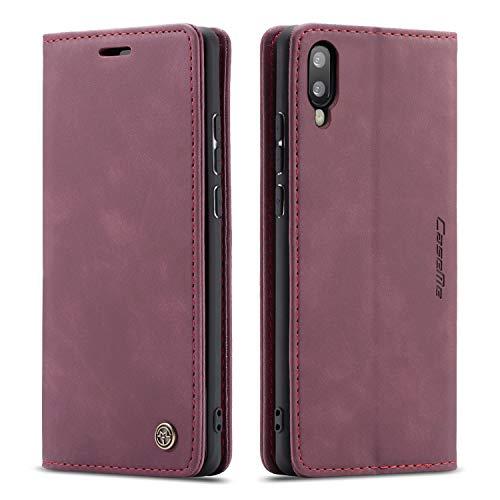 mvced Handyhülle Kompatibel mit Samsung Galaxy A10,Premium Leder Flip Case Schutzhülle mit Standfunktion,Wein rot
