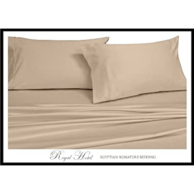 Royal Hotel Queen Beige Silky Soft sheets 100% Viscose from Bamboo Sheet Set
