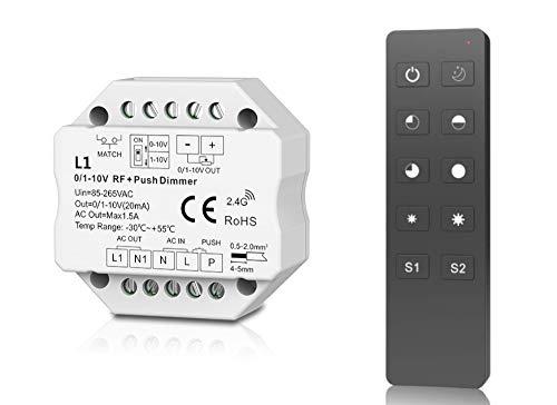 LEDUX 0/1-10V Dimmer mit 2.4G Funk, Push-Dimm Funktion, 230V, 1 Kanal, Einstellbar für 0-10V oder 1-10V (Dimmer + Fernbedienung)