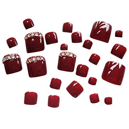 2 ensembles vin rouge ongles artificiels conseils naturels faux ongles couverture complète faux ongles fournitures pour ongles pour les femmes filles (24pcs / set)