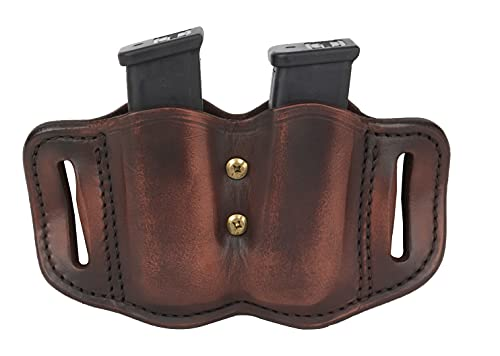 1791 Gunleather 2.2 Mag Holster - Double Mag Pouch for Double Stack Mags, OWB Magazine Pouch for Belts - Classic Brown, Stealth Black, Black & Brown and Signature Brown (Vintage Brown - Flex)
