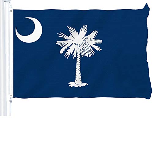 G128 - South Carolina State Flag 3x5 ft Printed Brass Grommets 150D Quality Polyester Flag Indoor/Outdoor - Much Thicker and More Durable Than 100D and 75D Polyester