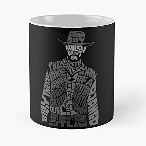 Wild Western The Kid West Calligram Django Far Cowboy Billy Taza de café con Leche 11 oz