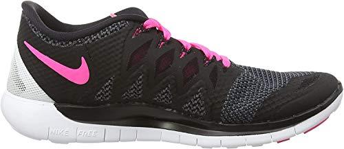 Nike Free 5.0, Damen Laufschuhe, Schwarz (Black/Pink Pow/White), 39 EU
