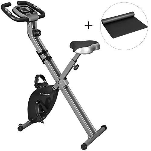 SONGMICS Cyclette Pieghevole, Bicicletta da Allenamento, Resistenza Magnetica a 8 Livelli, con Tappeto Protettivo, Sensore d'Impulso, Supporto Cellulare, capacità di Carico 100 kg, Nero SXB11BK