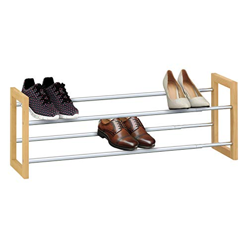 Knight 2-Tier Extendable Shoe Rack, Chrome Plated Metal with Pinewood Frame, Holds 12 Pairs of Shoes, for Living Room, Hallway & Cloakroom, Space Saving, Easy Assemble – Hex Key Required (Provided)