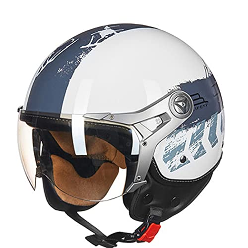 Medio casco de motocicleta de estilo retro de cara abierta 3/4 con parasol para hombres y mujeres Cascos de piloto de scooter vintage para Cascos de motocicleta eléctricos aprobación ECE,B,M