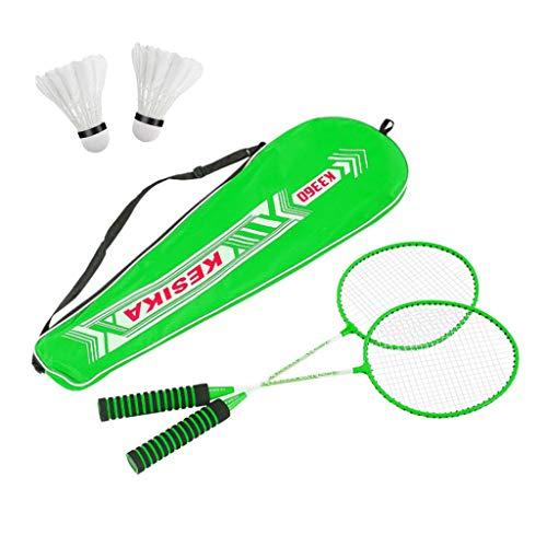 Blingko Badminton Set Federballspiel Federball 2 Schläger mit 2 Federbälle ideal für für Kinder Familie Erwachsene Urlaub Garten Strand, Badmintonschläger Set (Grün)