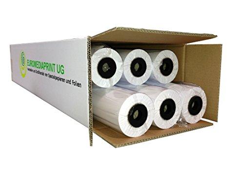 (0,21€/m²) Plotterpapier 6 Rollen ungestrichen | 90gr/m², 91,4cm (914mm) b, 50m l, CAD, unbeschichtet