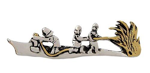 magdalena r. Feuerwehr Krawattennadel Krawattenklammer m. Feuerwehrlöschzug Bicolor - teilvergoldet glänzend ca. 7 cm lang + dunkler Exklusivbox