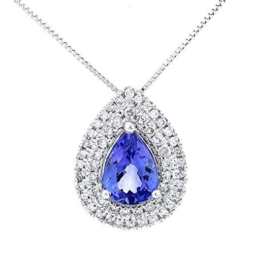 Gin & Grace 14K White Diamond Natural Oro (I1, I2) y Colgante tanzanita genuino para la Mujer