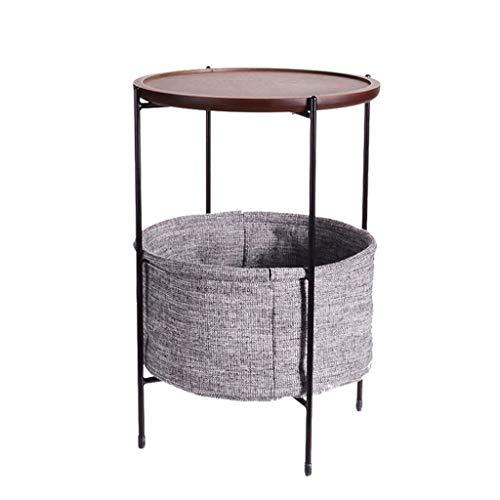 LICHUAN Mesa de café redonda de madera con almacenamiento de tela, mesa de café simple nórdica, mesa auxiliar de salón, sofá, mesa de té, mesa auxiliar de salón (color de nogal)