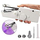Adore store Máquina de Coser Portable, Mini Blanco Máquina de Coser Handheld, Herramienta eléctrica Personal para el Bricolaje Ropa Costura, 1 Set