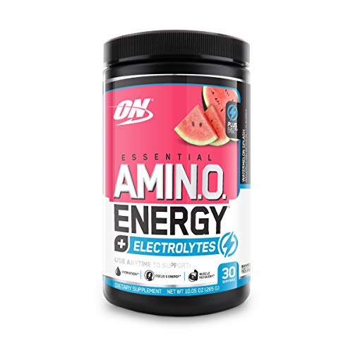 Optimum Nutrition Amino Energy + Electrolytes - Pre Workout, BCAAs, Amino Acids, Keto Friendly, Energy Powder -Watermelon Splash, 30 Servings