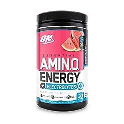 Optimum Nutrition Essential Amino Energy + Electrolytes, Watermelon Splash, Keto Friendly BCAAs, Pre