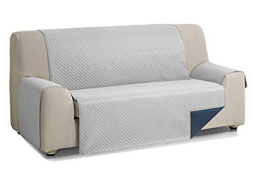 Martina Home Diamond Cubre Sofa Acolchado Reversible, Gris - Azul, 3 Plazas