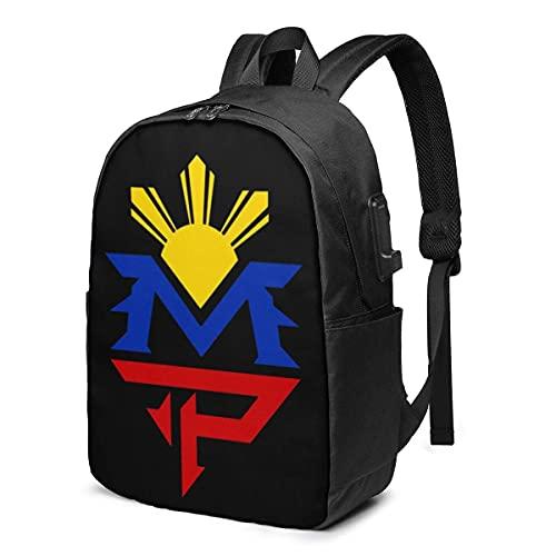Rononand backpack Zaino Con porta di ricarica USB Zaino per laptop impermeabile casual elegante Borsa da viaggio ultraleggera Manny Pacquiao Pinoy Boxing
