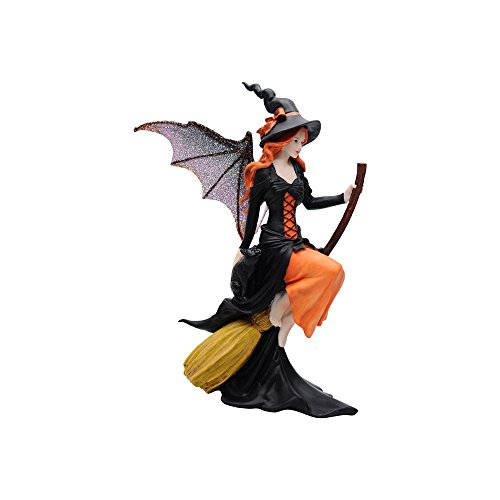 """Comfy Hour Fairyland Collection 8"""" Dark Fairy Witch Riding On Magic Broom Figurine, Halloween Theme Gift, Home Decoration and Collectibles, Polyresin"""