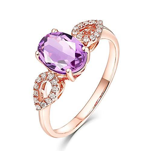 AueDsa Anillos Oro Rosa Anillos de Oro Rosa 18K para Mujer Gota de Agua con Hueca Amatista Púrpura Blanca 1.34ct Anillo Talla 21