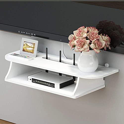 Soporte para TV Flotante Set-Top Box Rack, Consola Multimedia De TV De Pared, Estante Flotante De Pared, Adecuado para Wi-Fi Inalámbrico/Enrutador/Sala De Estar/Dormitorio