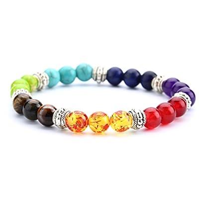 Doitory Men Women 8mm Lava Rock 7 Chakra Aromatherapy Essential Oil Diffuser Bracelet Elastic Natural Stone Yoga Beads Bracelet Bangle-21001