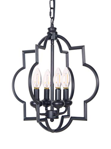 Homenovo Lighting Foyer Lantern 4-Light Chandelier, Industrial Style Lighting for Entryway, Hallway, Dining Room and Living Room - Matte Black Finish