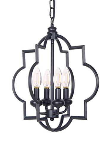 Homenovo Lighting Foyer Lantern 4-Light Chandelier, Industrial Style Lighting for Entryway, Hallway, Dining Room and Living Room - Matte Black Finish