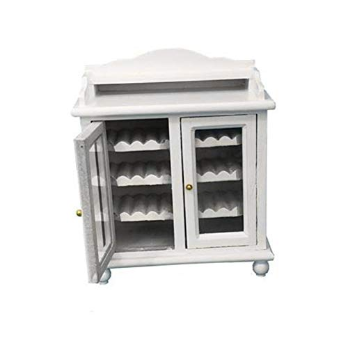 Difcuy 1/12 Wooden Doll House Miniature Wine Cabinet Furniture Pretend Play Kids Toy - White -  Difcuy_kj295