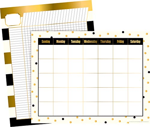 """Barker Creek Calendar and Incentive Chart Set, Gold, 2 Chart Set, Coordinating Calendar and Incentive Chart in On-Trend Gold Designs, Charts Measure 17"""" x 22"""" Each (576)"""
