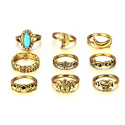 ITVIP Set of Rings Knuckle Retro Carving Flowers Turquoise Simple Weaving Finger Style Boemo Punk Ring Female - Silver -