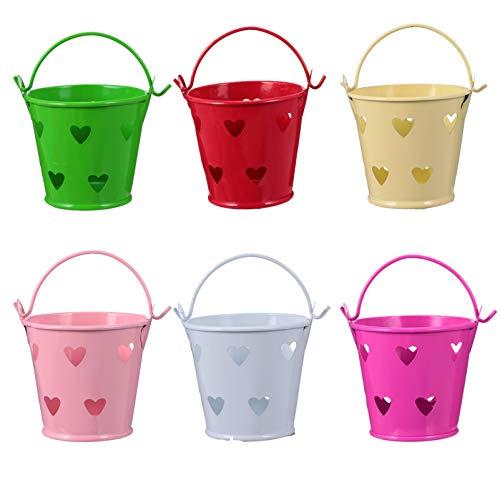 NUOBESTY 12 Piezas Mini Cubo de Metal de Lata Cubos de Caramelo Hueco Forma de Amor Barril de Lata con Asas para Los Favores de Fiesta Centros de Mesa de Dulces