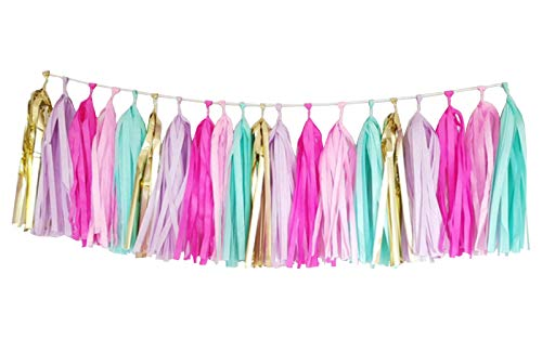 25 PCS Tissue Paper Tassel DIY Party Garland Decor for All Events & Occasions(Unicorn Pastel)