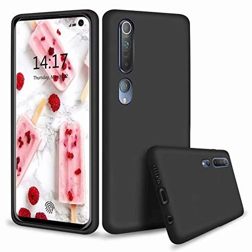 WYRHS Compatible con Xiaomi Mi 10 Pro Silicona Líquida Funda de Gel Cojín de Forro de Microfibra Suave Anti-Caída Carcasa de Telefono+1*(Protector de Pantalla)-Negro
